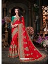 Lovely Red Art Silk Embroidered Saree