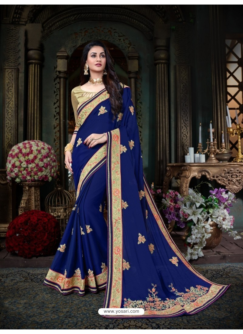 Latest Blue Georgette Embroidered Saree