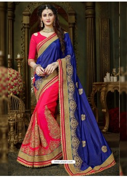 Dazzling Fuchsia Art Silk Embroidered Saree