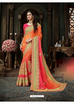 Feminine Orange Moss Chiffon Embeoidered Saree