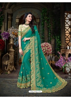 Magical Aqua Mint Georgette Embroidered Saree