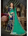 Flawless Jade Green Georgette Embroidered Saree