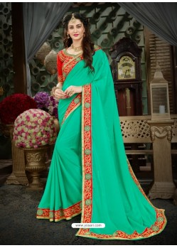 Incredible Green Georgette Embroidered Saree