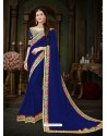 Markable Blue Georgette Embroidered Saree