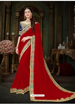 Radiant Crimson Georgette Embroidered Saree