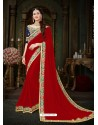 Radiant Crimson Georgette Embroidered Saree