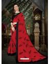 Delightful Crimson Georgette Embroidered Saree