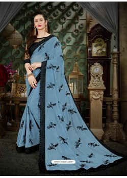 Fantastic Turquoise Georgette Embroidered Saree