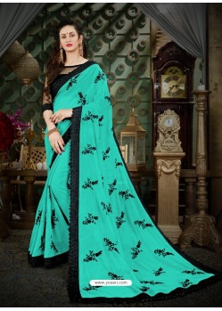 Fashionistic Aqua Mint Georgette Embroidered Saree