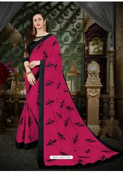 Beautiful Deep Wine Georgette Embroidered Saree