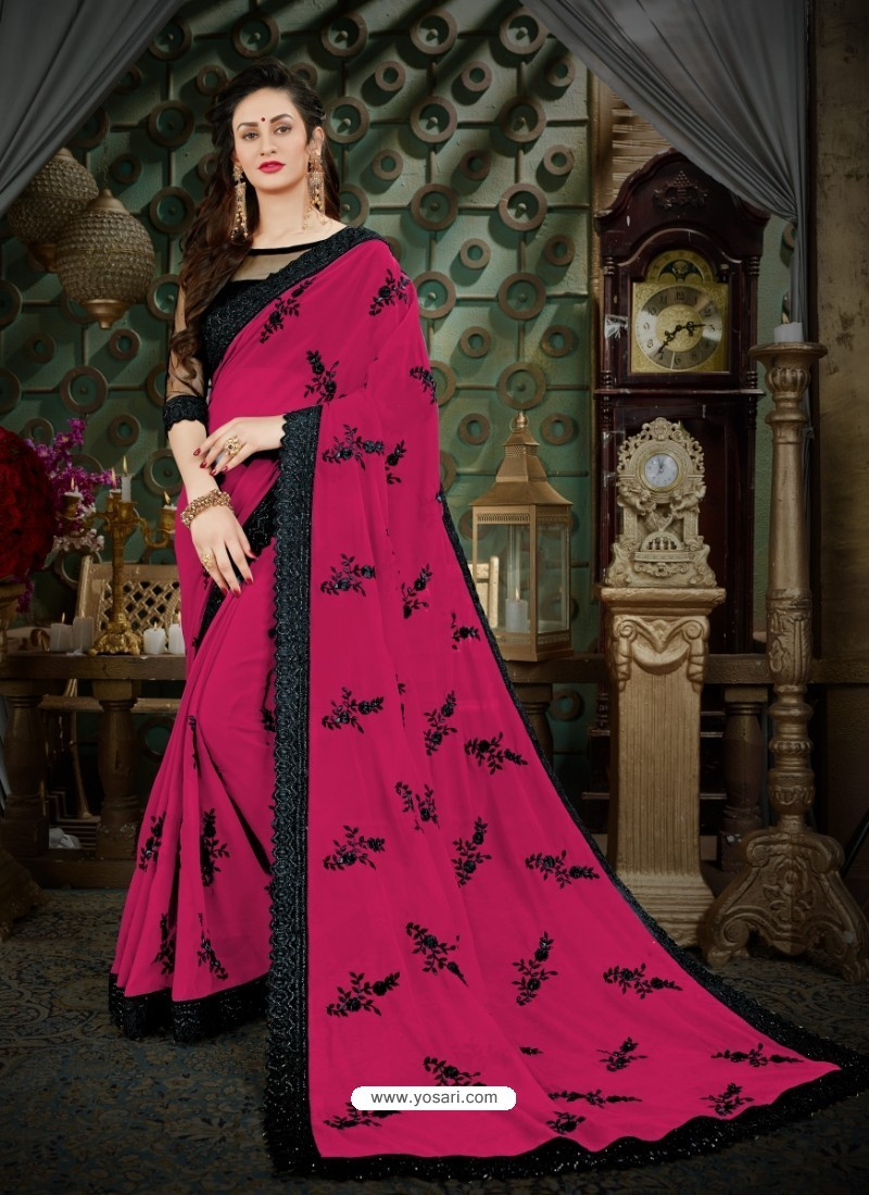 Beautiful Deep Wine Georgette Embroidered Saree