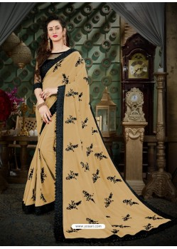 Beauteous Beige Georgette Embroidered Saree
