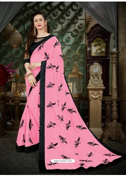 Desirable Pink Georgette Embroidered Saree