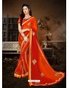 Phenomenal Red Georgette Embroidered Saree