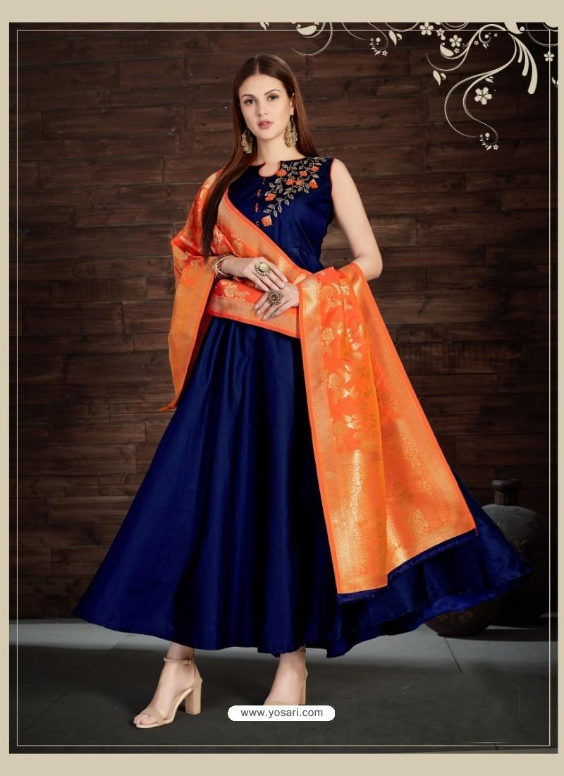 fc6dc6bc2c Buy Navy Blue Silk Embroidered Anarkali Suit | Anarkali Suits
