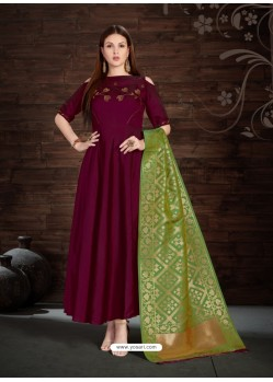 Deep Scarlet Silk Embroidered Anarkali Suit