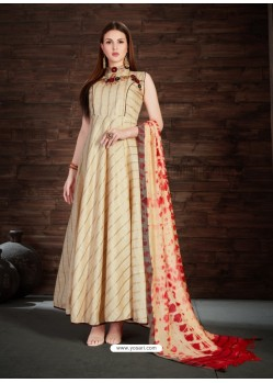 Cream Silk Embroidered Anarkali Suit