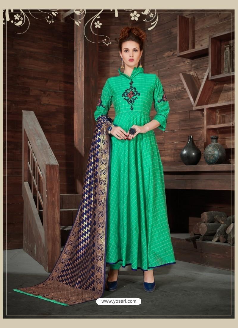 Jade Green Silk Embroidered Anarkali Suit