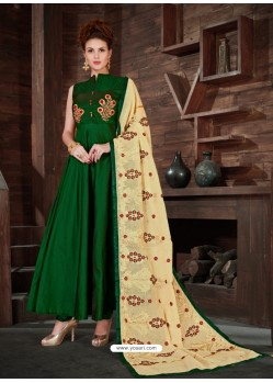 Green Silk Embroidered Anarkali Suit