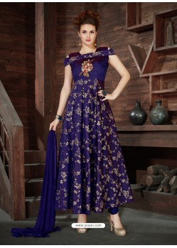 Violet Silk Embroidered Anarkali Suit