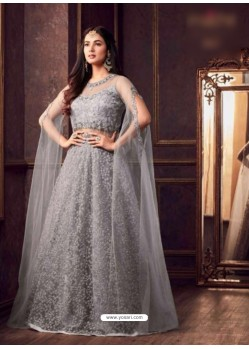 Grey Net Embroidered Floor Length Suit