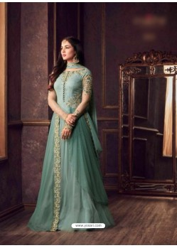 Aqua Mint Net Embroidered Floor Length Suit