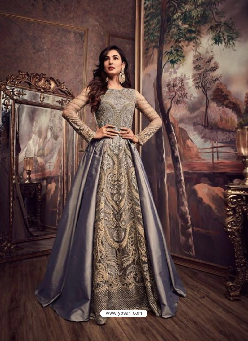 Grey Pure Silk Embroidered Floor Length Suit