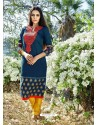 Navy Blue Color Printed Kurti