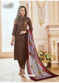 Brown Cotton Hand Work Suit