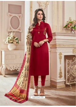 Wine Cotton Hand Work Suit