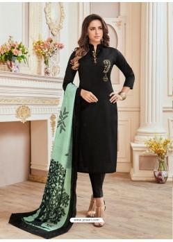Black Cotton Hand Work Suit