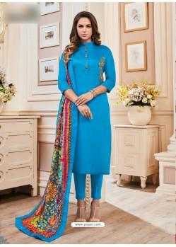 Blue Cotton Hand Work Suit