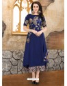 Dark Blue Rayon Embroidered Kurti