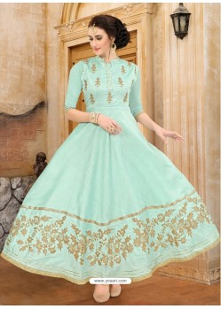 Sea Green Dhupion Embroidered Kurti