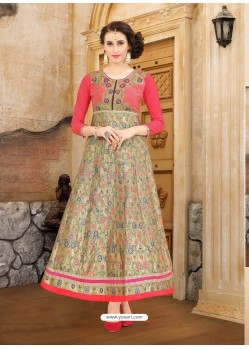Peach Brocade Embroidered Kurti