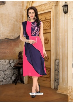 Peach Georgette Embroidered Kurti