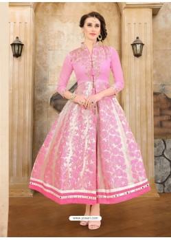 Pink Dhupion Embroidered Kurti