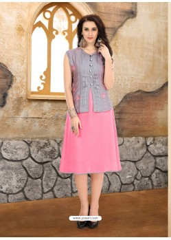 Pink Georgette Embroidered Kurti