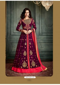 Deep Scarlet Georgette Embroidered Floor Length Suit
