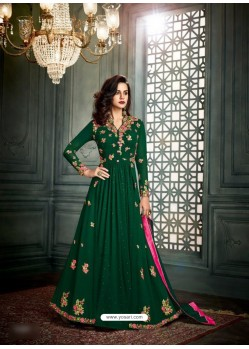 Green Georgette Embroidered Floor Length Suit