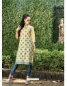 Cream Color Printed Kurti