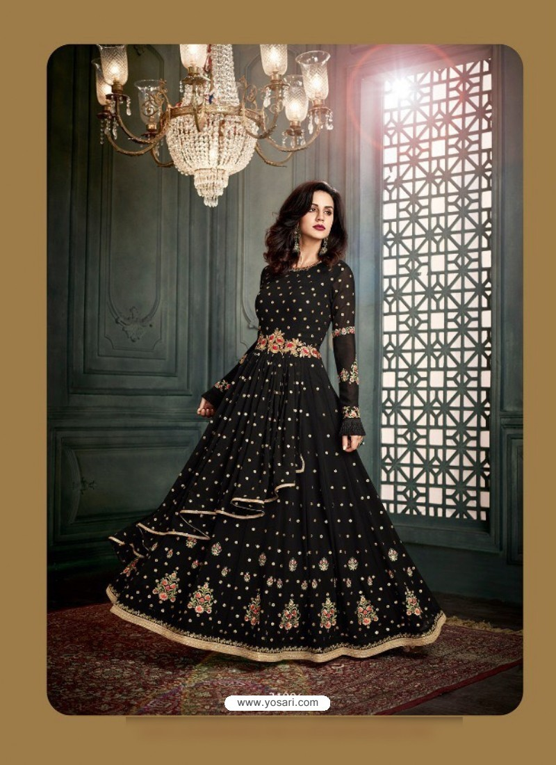 Black Georgette Embroidered Floor Length Suit