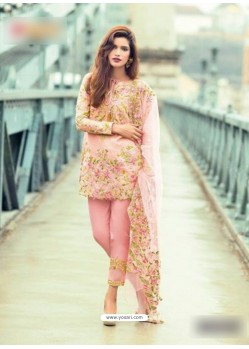 Baby Pink Pure Cambric Embroidered Suit