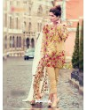 Beige Pure Cambric Embroidered Suit