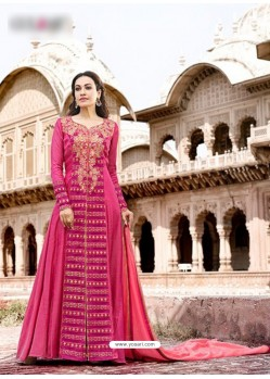 Fuchsia CXN Slub Embroidered Floor Length Suit