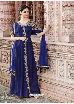 Dark Blue Poly Cotton Embroidered Floor Length Suit