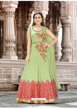 Sea Green Cotton Embroidered Floor Length Suit