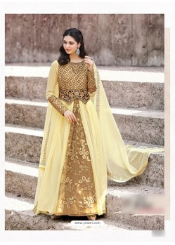 Beoge Faux Georgette Embroidered Floor Length Suit