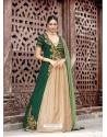 Green Embroidered Floor Length Suit