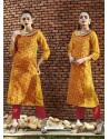 Mustard Color Printed Kurti